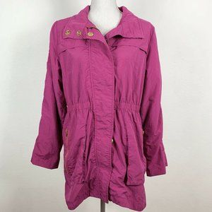 For Cynthia M Utility Jacket Magenta Gold Accents